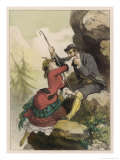 Two Climbers Pause for Amorous Refreshment on a Mountainside Giclee Print by D. Eusebio Planas