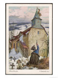 He Tethers His Horse to the Steeple of a Church Buried in the Snow Giclee Print by O. Herrfurth