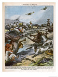 The Ethiopian Cavalry is Attacked by Italian Aircraft Gicleetryck av Vittorio Pisani