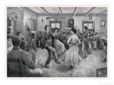 Knees-Up in a French Canadian Village Home Giclee Print by Edmond J. Massicotte