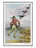 He is Towed Through the Air by a Flight of Friendly Ducks Giclee Print by O. Herrfurth