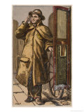 "London Characters: The London Cabbie Holds Open the Door of His ""Victoria"" Four-Wheeler Giclee Print by H.w. Petherick"