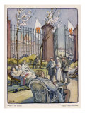 Wounded German Soldiers Rest in the Grounds of a Hospital Giclee-vedos tekijn Walther Puttner