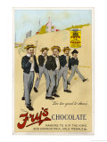 Four Public Schoolboys Enjoy Their Bars of Fry's Chocolate Giclee Print by Chas Pears