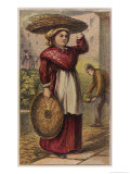 London Characters: a Basket Woman Takes the Baskets She Has Made from Door to Door Giclee Print by H.w. Petherick