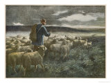 """Fleeing the Storm"", a Shepherd Returns Home with His Flock Before They All Get Soaked Giclee Print by Auguste Prévot-Valeri"