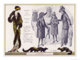Exoticly Patterned Evening Coat or Mantle Trimmed in Skunk Fur Children's Tailor- Made and Coats Giclee Print by Jacques Nam