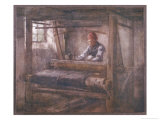 """The Weaver's Shop,"" an Old Scottish Man Sits at His Loom Giclee Print by Henry W. Kerr"