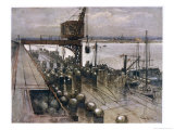 Mines Being Loaded onto a British Mine-Laying Ship Giclee Print by Donald Maxwell
