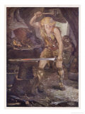 Instructed by Mime Siegfried Forges the Magic Sword Notung Giclee Print by Norman Price