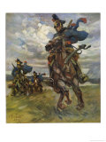 Austrian Uhlans (Lancers) Patrolling Near Krasnik in Poland Giclee Print by Angelo Jank