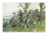 Battle of Worth: Bavarians Against Spahis in a Woodland Setting Giclee Print by R Knoetel
