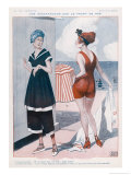 Pre-War and Post-War Fashions Creating a Skirmish on the Sea Front Giclee Print by Georges Leonnec