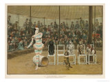 Circus Clown with Five Dogs in a Circus Ring Giclee Print by Charles Green