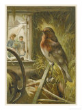Two Children Watch a Robin the Barn Who is Standing on One Leg Giclee Print by John Lawson