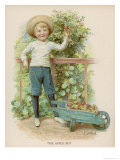 Boy Picks Apples from a Conveniently Low-Hanging Tree Filling a Wheelbarrow Giclee Print by E. Lance