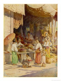 Mothers with Their Children Shopping in a Burmese Bazaar Giclee Print by R. Talbot Kelly