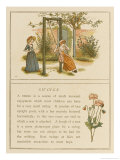 Watched by a Companion a Girl Swings in a Garden Giclee Print by Kate Greenaway