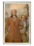 Ludwig Van Beethoven with Goethe at Teplitz Giclee Print by A. Karpellus