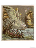 The Spanish Armada is Defeated by the Sailors of the English Fleet in the Channel Giclee Print by Joseph Kronheim