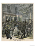 "The Scene Outside the Restaurant ""Very"" Paris after Anarchists Bombed It Giclee Print by Henri Meyer"
