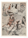 An Enjoyable Flirtation on a Popular German Beach Giclee Print by J. Nemian