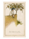 Humpty Dumpty Depicted Sitting on a Wall Previous to the Great Fall Premium Giclee Print by Kate Greenaway