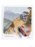 An Exciting Encounter on a Mountain Road: The View is Very Impressive Giclee Print by Geo Ham