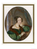Young Brunette Wears a Dark Green Dress with Gigot Sleeves with Mancherons and Transparent Cuffs Giclee Print by Karl Joseph