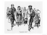 Jewish Men Women and Children Arrive in London Carrying Their Possessions in Suitcases and Bundles Giclee Print by T. Heath