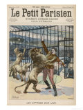 Lion-Tamer is Mauled Though Not Fatally During a Performance at the Paris Hippodrome Giclee Print by  Meaulle