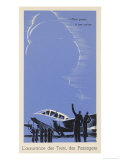 Twin-Engined French Passenger Plane Prepares to Take Off Giclee Print by Edmond Maurus
