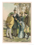 Fashionable Lady in a Black Lace Mantlet or Pelerine is Surrounded by Male Admirers Giclee Print by D. Eusebio Planas