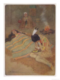 "Hiawatha Mourns the Death of Minnehaha: ""Seven Long Days and Nights He Sat There."" Giclee Print by M. L. Kirk"
