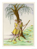 Daphnis and Chloe Standing Beneath a Tree Giclee Print by Fritzi Low