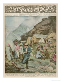 Summer Camp for Women Members of the Italian Alpine Club High in the Mountains Giclee Print by Alfredo Ortelli