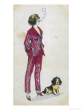 Forward Young Woman Wears a Cerise Pink and Red Pyjama Suit Giclee Print by Xavier Sager