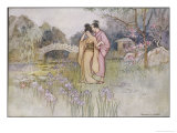Japanese Couple in a Garden Giclée-Premiumdruck von Warwick Goble