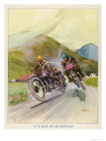 Two Competitors in the Tourist Trophy Race Fight It out Amid the Hills of the Isle of Man Lámina giclée por  Grimes