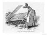 Lady Lifts up a Section of the Coldframe to Water the Plants Underneath Giclee Print by C. Krebs
