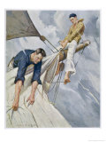 Two Sailors in the Rigging Raising a Sail Giclee Print by Sidney Riesenberg
