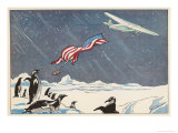 "Admiral Byrd in the Ford Trimotor ""Floyd Bennett"" Drops the American Flag at the South Pole Giclee Print by Geo Ham"