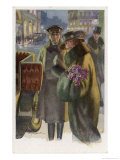 An Elegant Viennese Lady Enters Her Chauffeur-Driven Car at Night Clutching a Bunch of Roses Giclee Print by H. Schubert