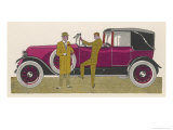 This Elegant Renault Cabriolet Claridges Boasts Coachwork by Letourneur et Marchand Giclee Print by Jean Grangier