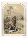 Lion with Its Paw on One Arab Hunter Confronts His Companion Giclee Print by Louis Lassalle