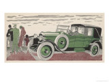 The Chauffeur of a Peugeot Waits While His Passengers Admire the View Giclee Print by Jean Grangier