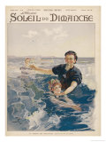 French Lady is Given a Swimming Lesson Giclee Print by De Parys