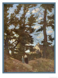 Landscape Somewhere in France. a Woman and Child Walk Beneath Trees Giclee Print by Henri-Joseph Harpignies