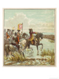 William III Leads His Troops on Horseback at the Battle of the Boyne Against James II Giclee Print by Joseph Kronheim