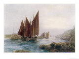 Fishing Boats Leaving the Harbour at Looe Cornwall Giclee Print by Maurice Randall